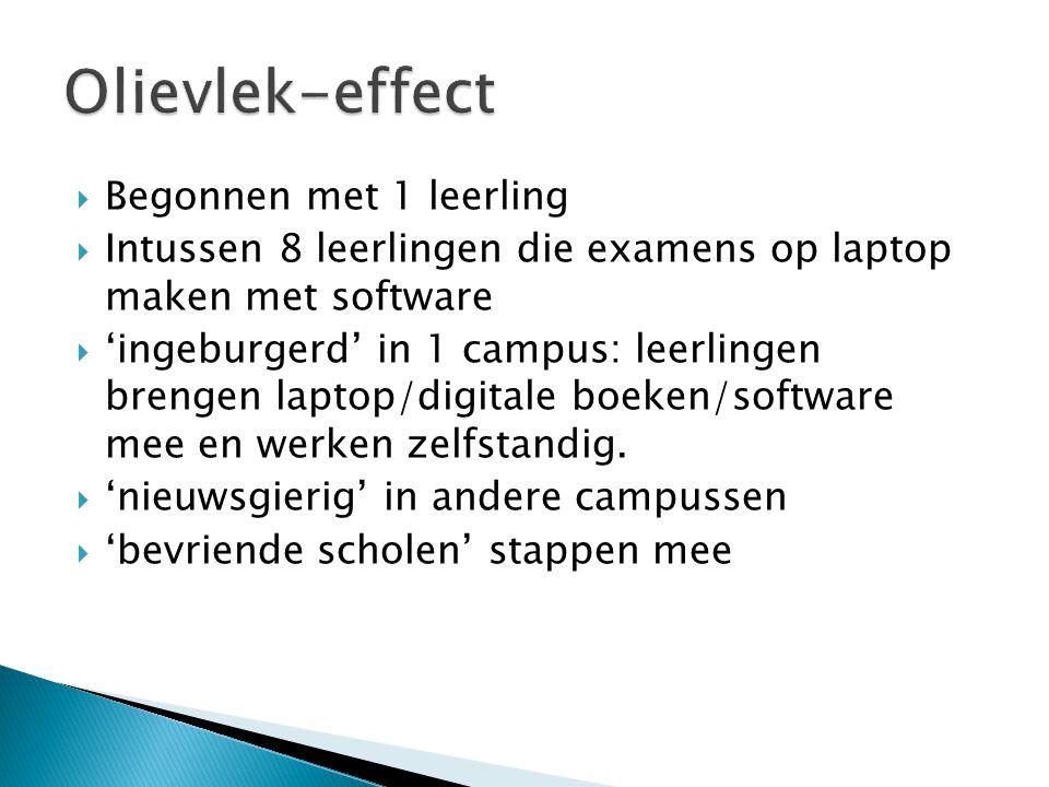  Begonnen met 1 leerling  Intussen 8 leerlingen die examens op laptop maken met software  'ingeburgerd' in 1 campus: leerlingen brengen laptop/digi