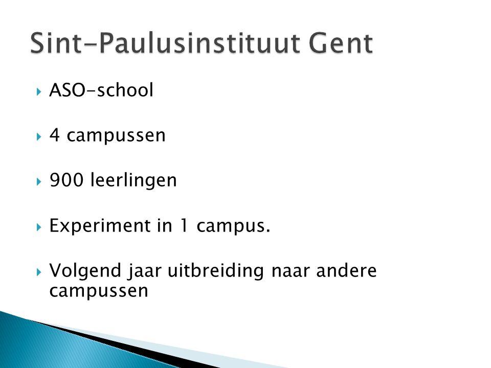  ASO-school  4 campussen  900 leerlingen  Experiment in 1 campus.  Volgend jaar uitbreiding naar andere campussen