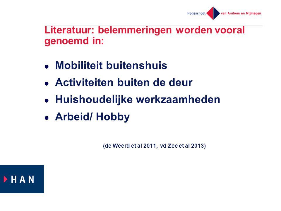 Literatuur: belemmeringen worden vooral genoemd in:  Mobiliteit buitenshuis  Activiteiten buiten de deur  Huishoudelijke werkzaamheden  Arbeid/ Hobby (de Weerd et al 2011, vd Zee et al 2013)