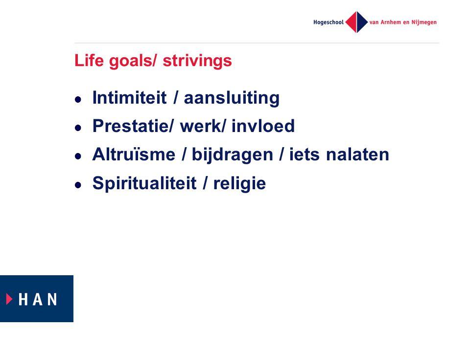 Life goals/ strivings  Intimiteit / aansluiting  Prestatie/ werk/ invloed  Altruïsme / bijdragen / iets nalaten  Spiritualiteit / religie