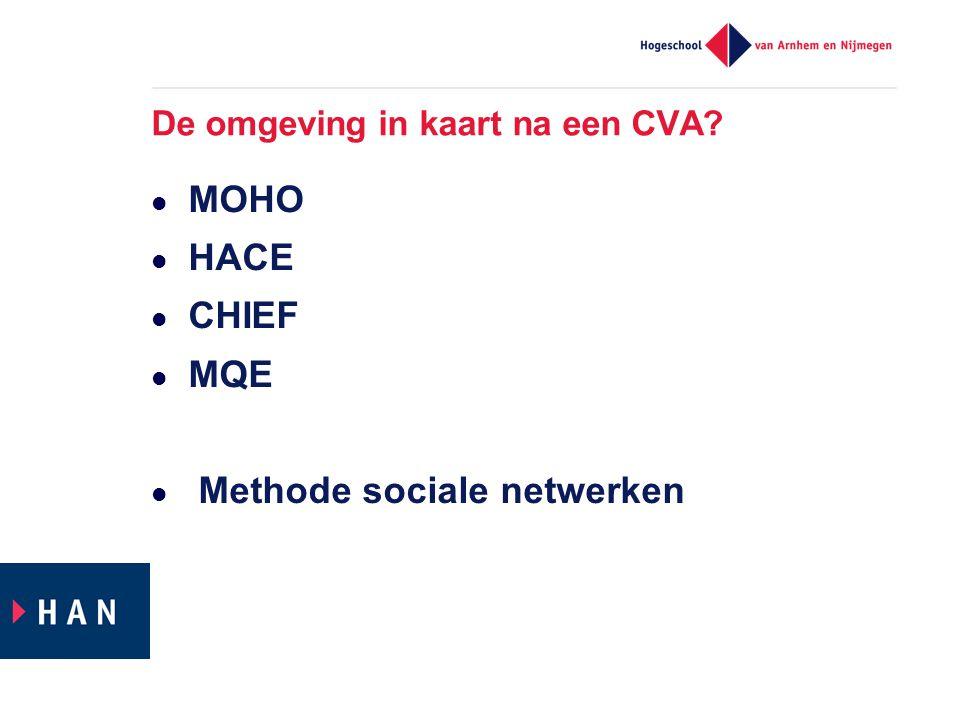 De omgeving in kaart na een CVA?  MOHO  HACE  CHIEF  MQE  Methode sociale netwerken