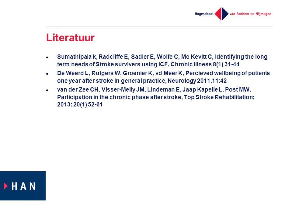 Literatuur  Sumathipala k, Radcliffe E, Sadler E, Wolfe C, Mc Kevitt C, identifying the long term needs of Stroke survivers using ICF, Chronic Illnes