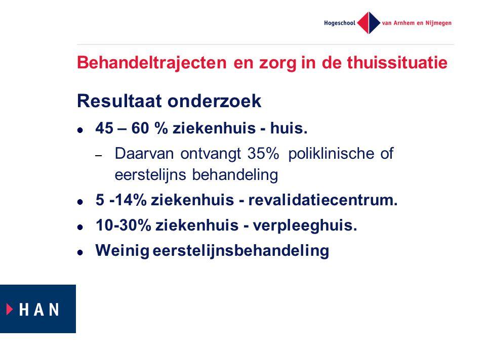 Behandeltrajecten en zorg in de thuissituatie Resultaat onderzoek  45 – 60 % ziekenhuis - huis. – Daarvan ontvangt 35% poliklinische of eerstelijns b