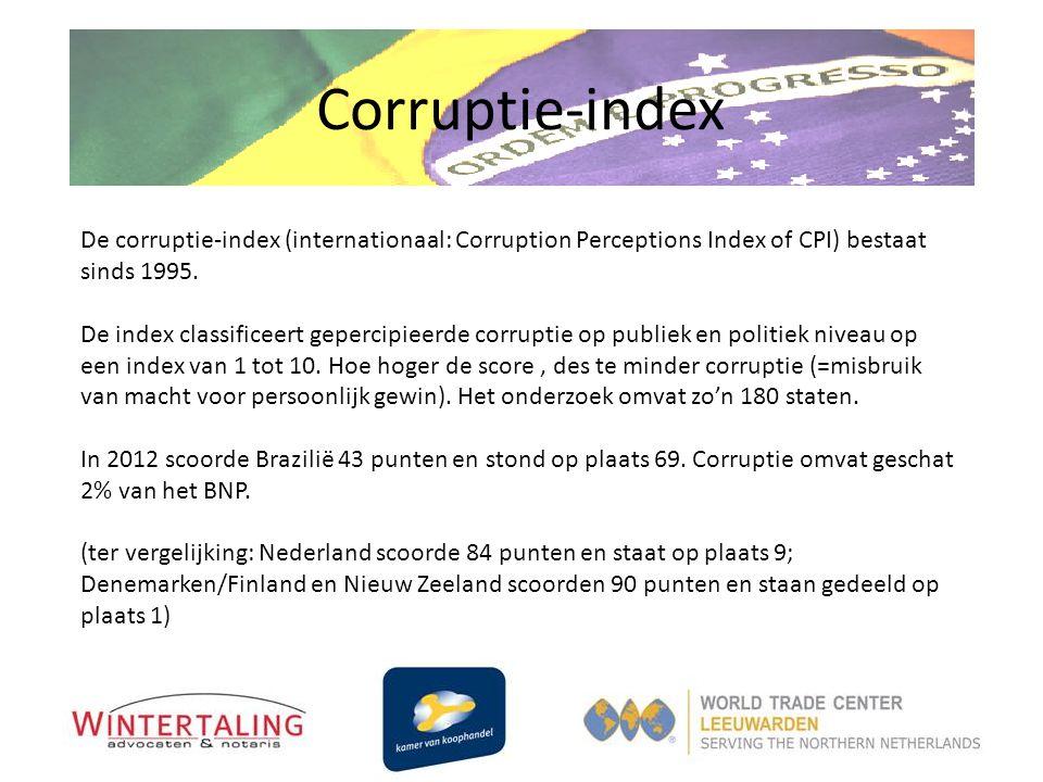 Corruptie-index De corruptie-index (internationaal: Corruption Perceptions Index of CPI) bestaat sinds 1995. De index classificeert gepercipieerde cor
