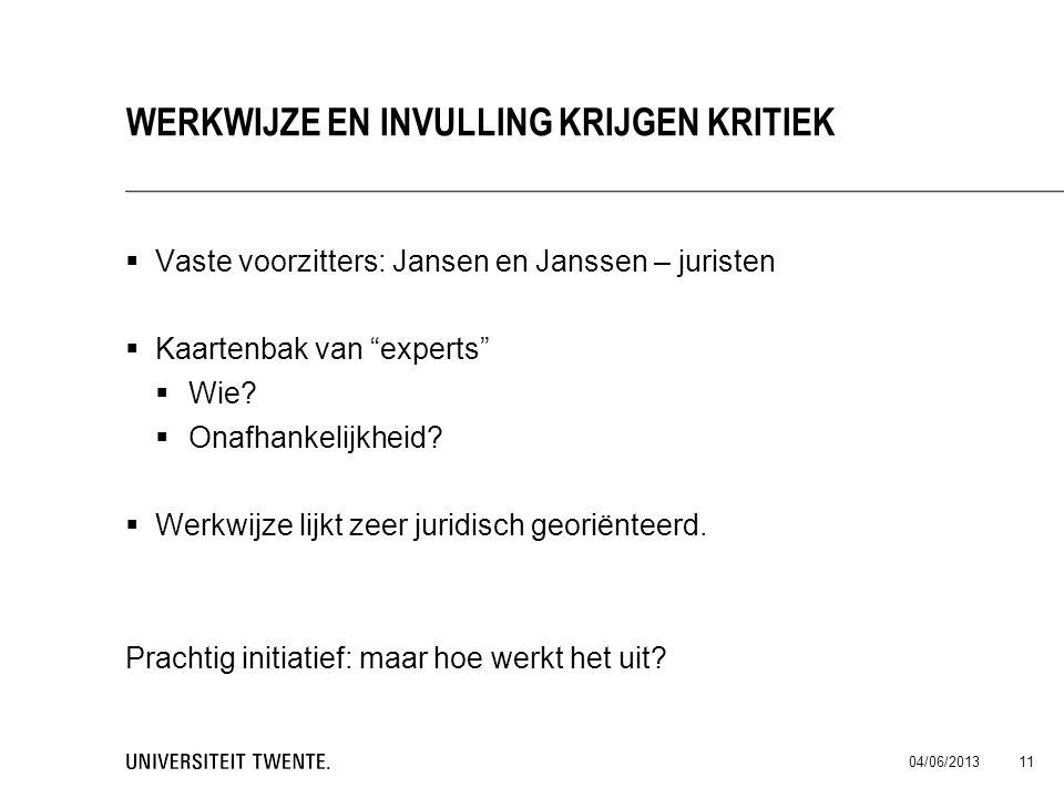 """ Vaste voorzitters: Jansen en Janssen – juristen  Kaartenbak van """"experts""""  Wie?  Onafhankelijkheid?  Werkwijze lijkt zeer juridisch georiënteerd"""