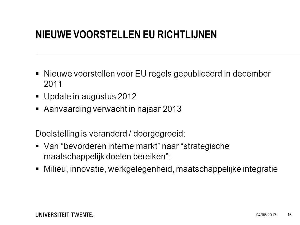  Nieuwe voorstellen voor EU regels gepubliceerd in december 2011  Update in augustus 2012  Aanvaarding verwacht in najaar 2013 Doelstelling is vera