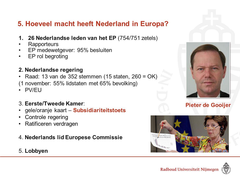 5. Hoeveel macht heeft Nederland in Europa? 1.26 Nederlandse leden van het EP (754/751 zetels) •Rapporteurs •EP medewetgever: 95% besluiten •EP rol be