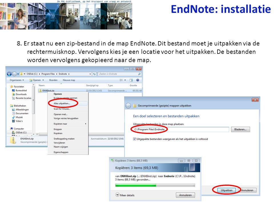 8. Er staat nu een zip-bestand in de map EndNote. Dit bestand moet je uitpakken via de rechtermuisknop. Vervolgens kies je een locatie voor het uitpak
