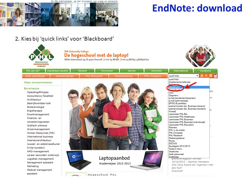 2. Kies bij 'quick links' voor 'Blackboard' EndNote: download