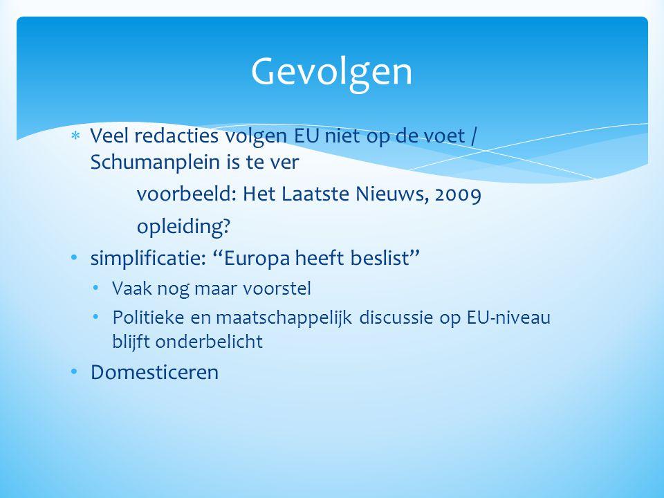""" Veel redacties volgen EU niet op de voet / Schumanplein is te ver voorbeeld: Het Laatste Nieuws, 2009 opleiding? • simplificatie: """"Europa heeft besl"""