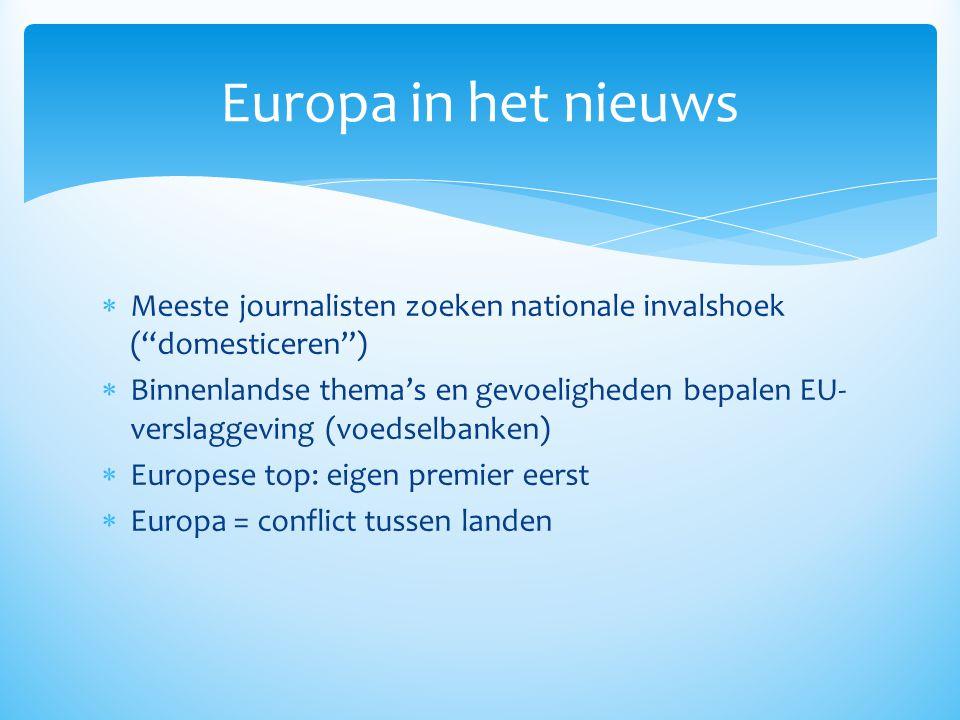 """ Meeste journalisten zoeken nationale invalshoek (""""domesticeren"""")  Binnenlandse thema's en gevoeligheden bepalen EU- verslaggeving (voedselbanken) """
