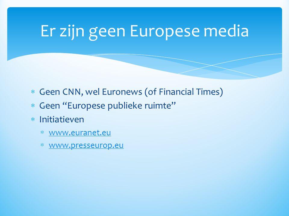 """ Geen CNN, wel Euronews (of Financial Times)  Geen """"Europese publieke ruimte""""  Initiatieven  www.euranet.eu www.euranet.eu  www.presseurop.eu www"""