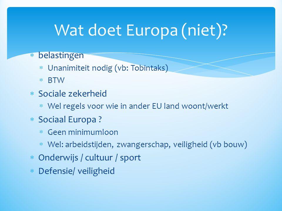  belastingen  Unanimiteit nodig (vb: Tobintaks)  BTW  Sociale zekerheid  Wel regels voor wie in ander EU land woont/werkt  Sociaal Europa ?  Ge