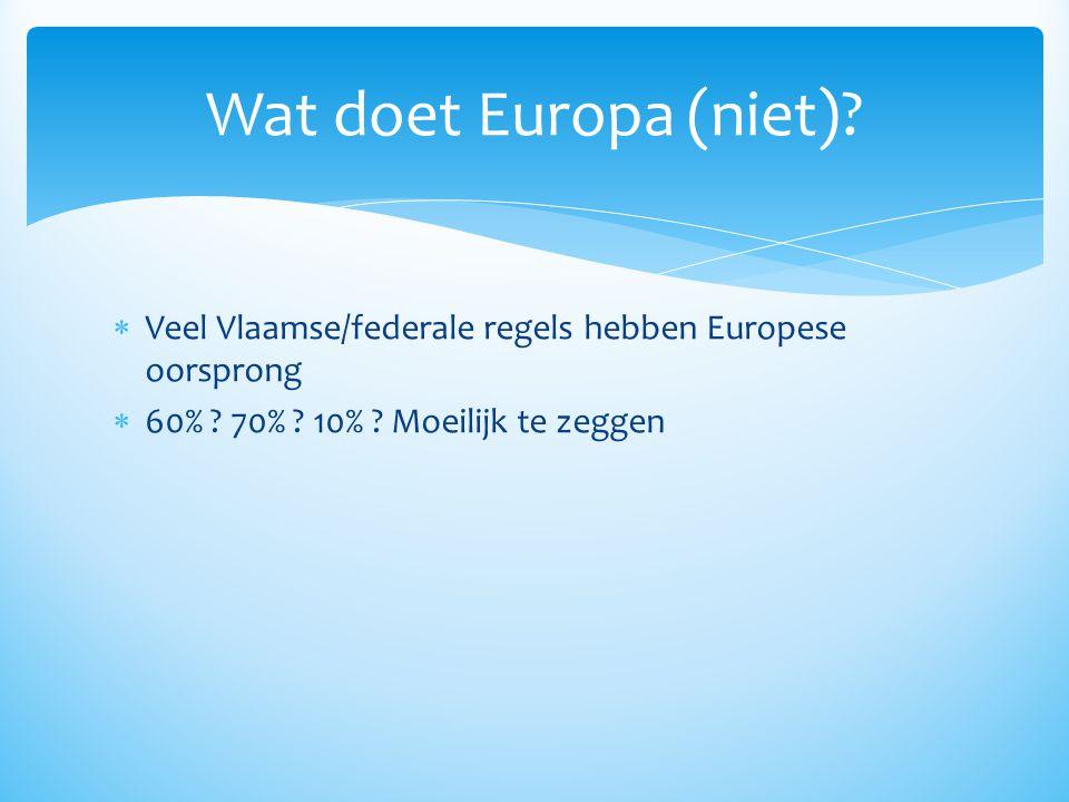  Veel Vlaamse/federale regels hebben Europese oorsprong  60% ? 70% ? 10% ? Moeilijk te zeggen Wat doet Europa (niet)?