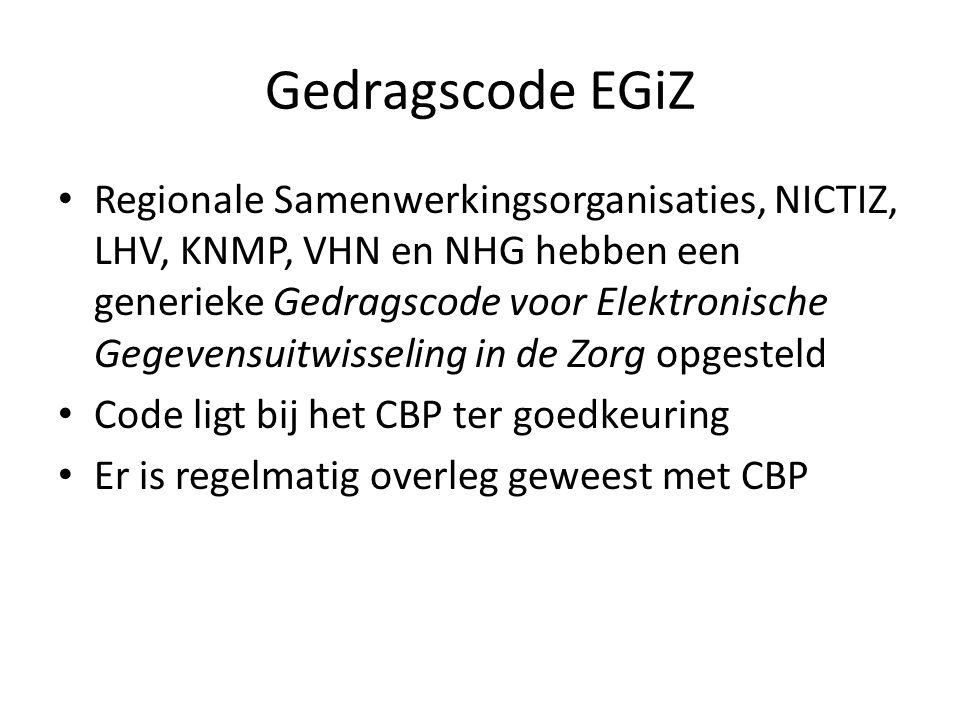 Gedragscode EGiZ • Regionale Samenwerkingsorganisaties, NICTIZ, LHV, KNMP, VHN en NHG hebben een generieke Gedragscode voor Elektronische Gegevensuitw