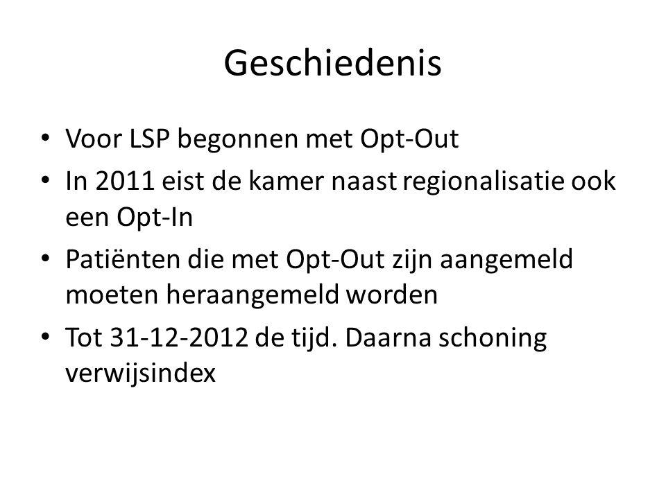 Geschiedenis • Voor LSP begonnen met Opt-Out • In 2011 eist de kamer naast regionalisatie ook een Opt-In • Patiënten die met Opt-Out zijn aangemeld mo