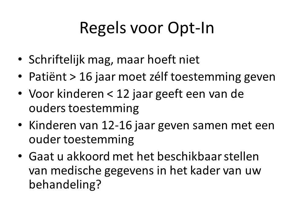 Regels voor Opt-In • Schriftelijk mag, maar hoeft niet • Patiënt > 16 jaar moet zélf toestemming geven • Voor kinderen < 12 jaar geeft een van de oude