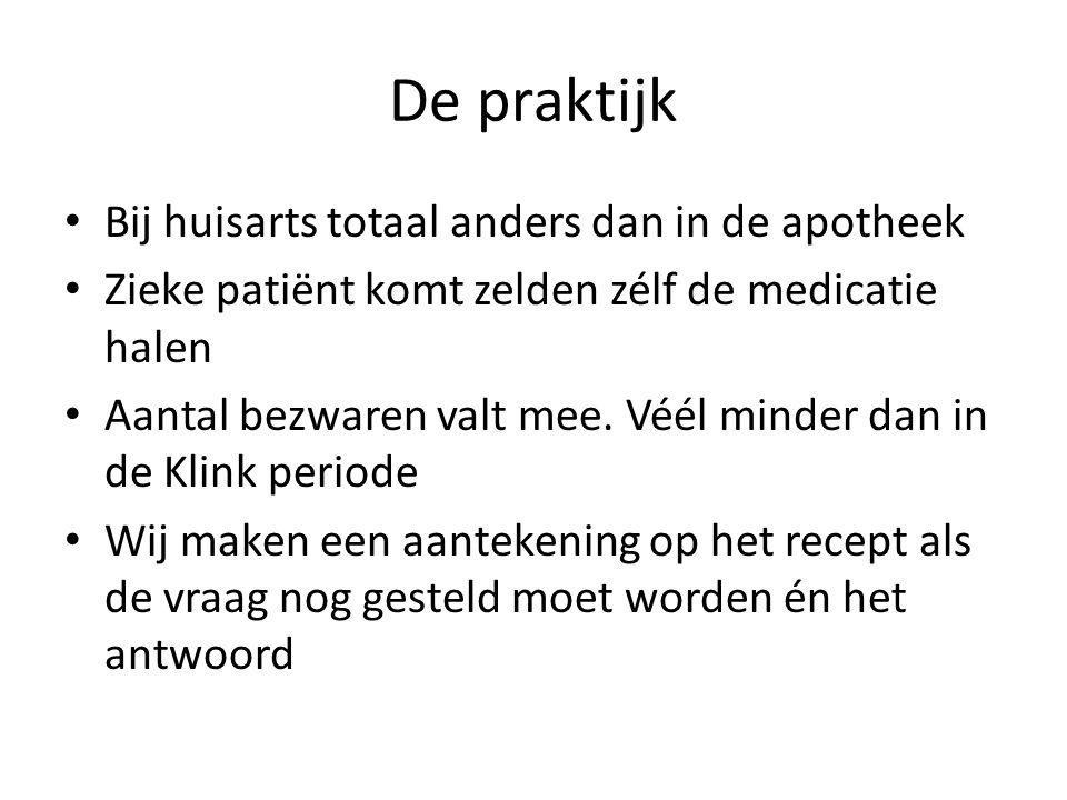 De praktijk • Bij huisarts totaal anders dan in de apotheek • Zieke patiënt komt zelden zélf de medicatie halen • Aantal bezwaren valt mee. Véél minde
