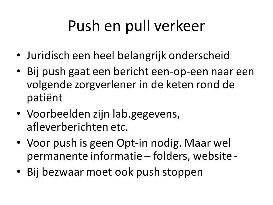 Push en pull verkeer • Juridisch een heel belangrijk onderscheid • Bij push gaat een bericht een-op-een naar een volgende zorgverlener in de keten ron