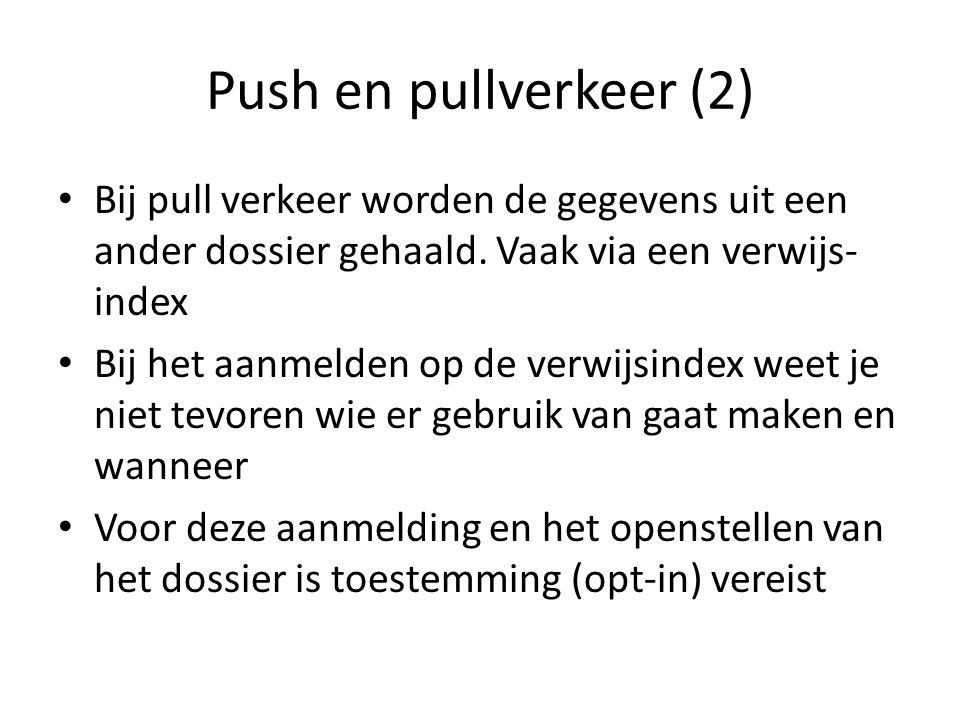 Push en pullverkeer (2) • Bij pull verkeer worden de gegevens uit een ander dossier gehaald. Vaak via een verwijs- index • Bij het aanmelden op de ver