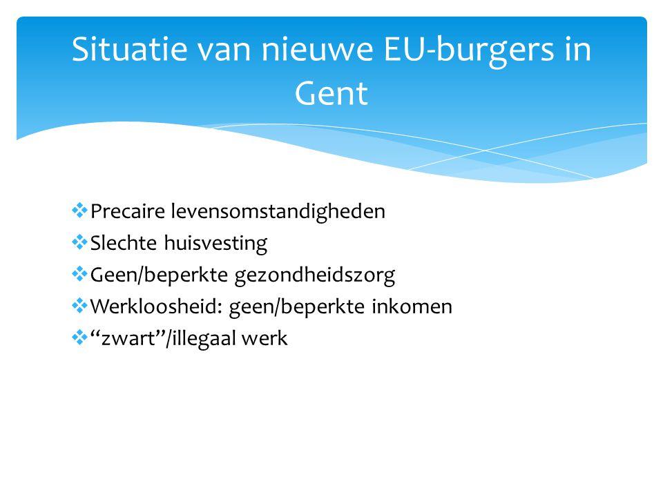  Precaire levensomstandigheden  Slechte huisvesting  Geen/beperkte gezondheidszorg  Werkloosheid: geen/beperkte inkomen  zwart /illegaal werk Situatie van nieuwe EU-burgers in Gent