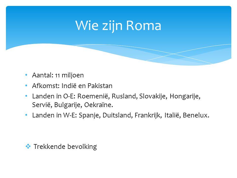 • Aantal: 11 miljoen • Afkomst: Indië en Pakistan • Landen in O-E: Roemenië, Rusland, Slovakije, Hongarije, Servië, Bulgarije, Oekraïne. • Landen in W