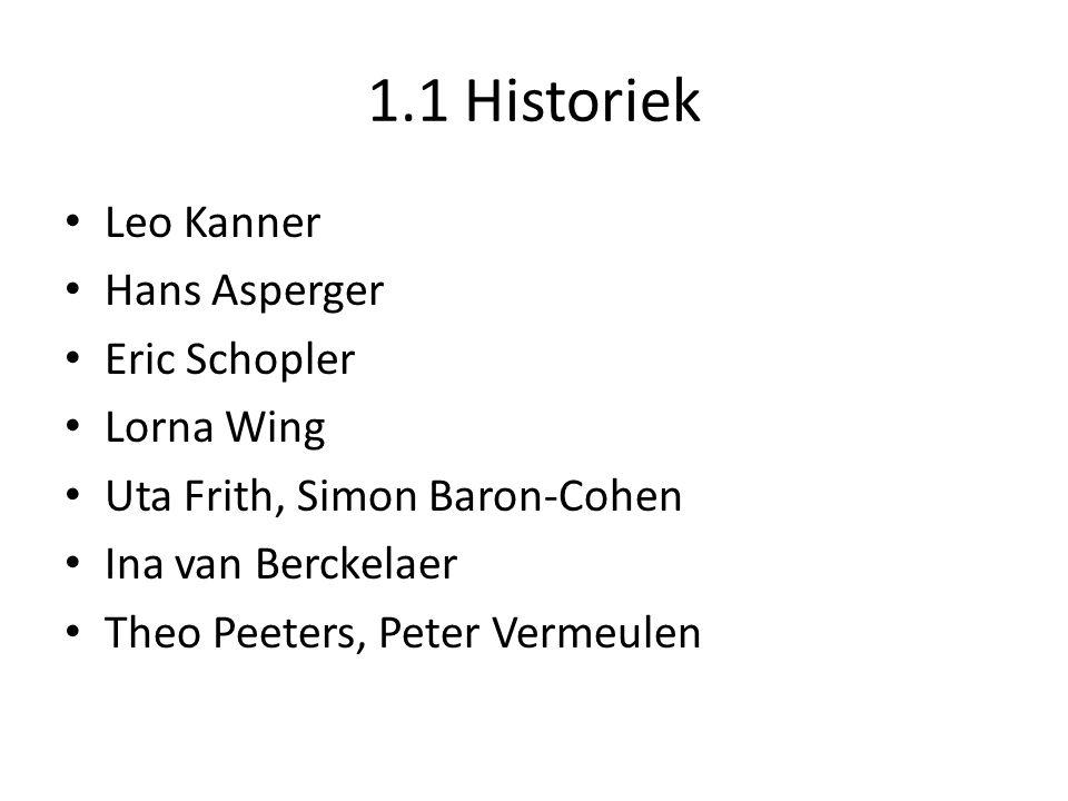 1.1 Historiek • Leo Kanner • Hans Asperger • Eric Schopler • Lorna Wing • Uta Frith, Simon Baron-Cohen • Ina van Berckelaer • Theo Peeters, Peter Vermeulen
