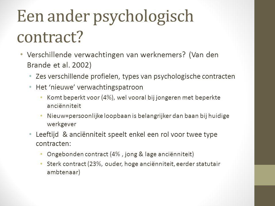 Een ander psychologisch contract? • Verschillende verwachtingen van werknemers? (Van den Brande et al. 2002) • Zes verschillende profielen, types van