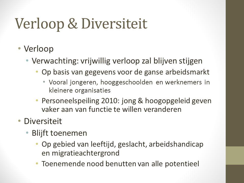 Verloop & Diversiteit • Verloop • Verwachting: vrijwillig verloop zal blijven stijgen • Op basis van gegevens voor de ganse arbeidsmarkt • Vooral jong