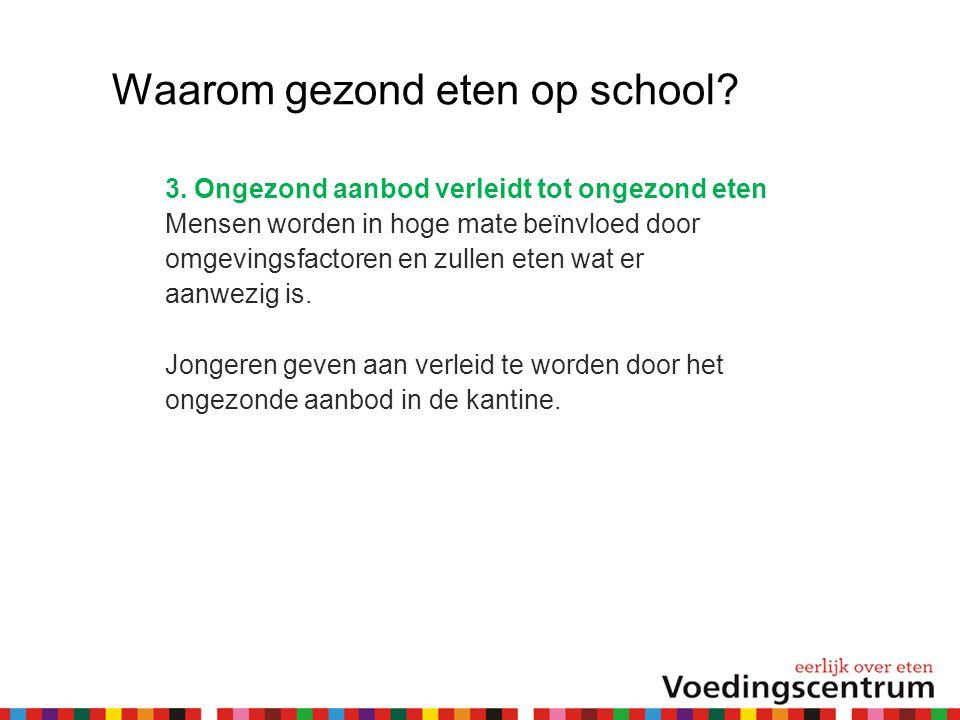 Waarom gezond eten op school? 3. Ongezond aanbod verleidt tot ongezond eten Mensen worden in hoge mate beïnvloed door omgevingsfactoren en zullen eten