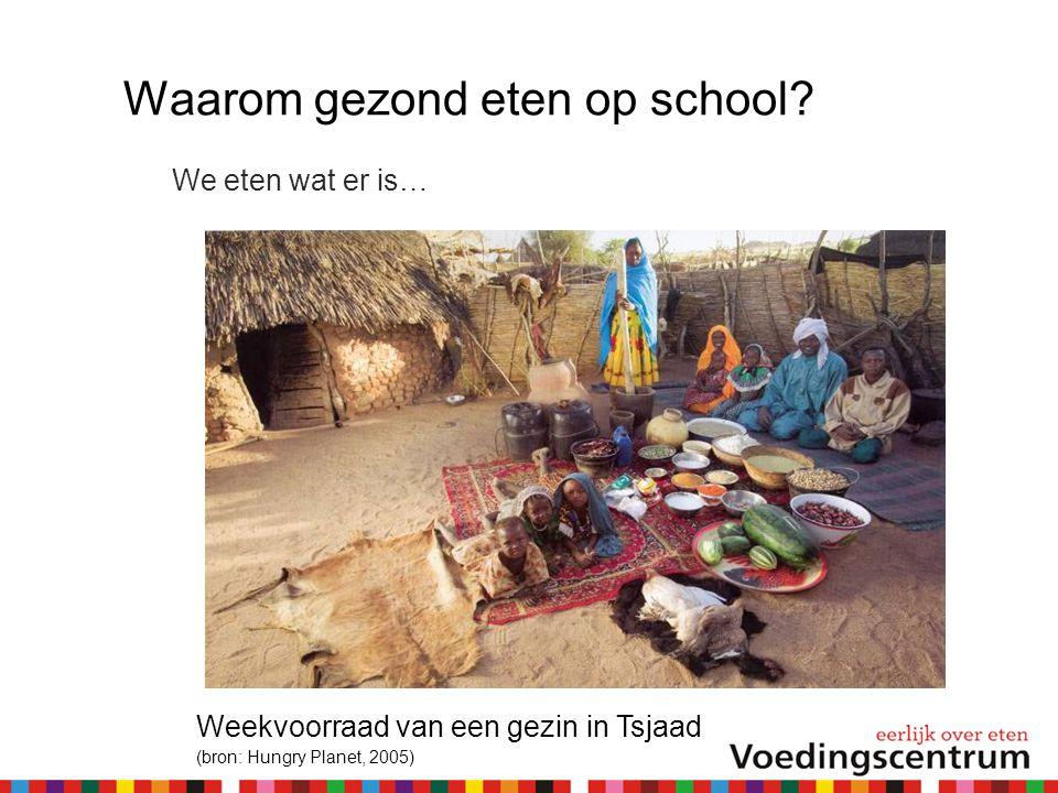 Waarom gezond eten op school? We eten wat er is… Weekvoorraad van een gezin in Tsjaad (bron: Hungry Planet, 2005)