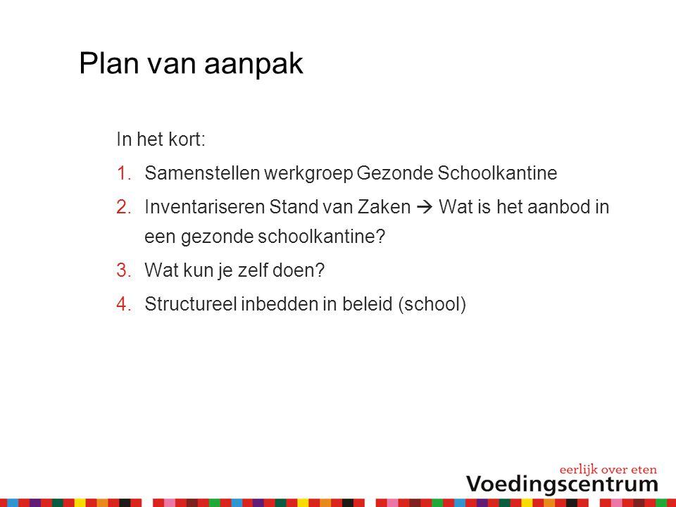 Plan van aanpak In het kort:  Samenstellen werkgroep Gezonde Schoolkantine  Inventariseren Stand van Zaken  Wat is het aanbod in een gezonde scho