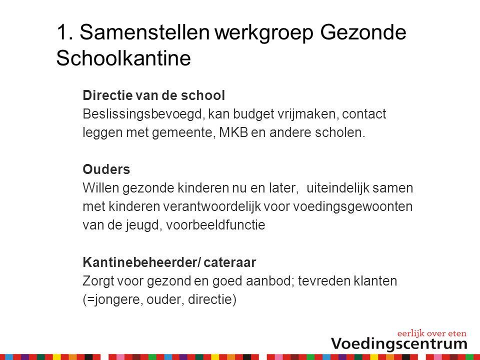 1. Samenstellen werkgroep Gezonde Schoolkantine Directie van de school Beslissingsbevoegd, kan budget vrijmaken, contact leggen met gemeente, MKB en a