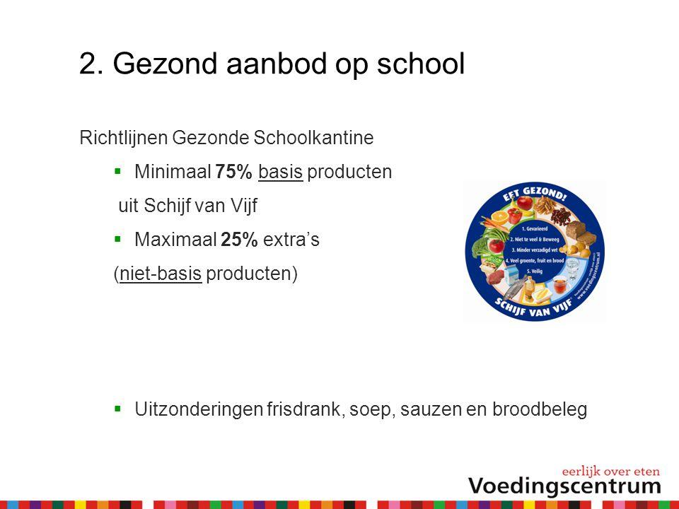 2. Gezond aanbod op school Richtlijnen Gezonde Schoolkantine  Minimaal 75% basis producten uit Schijf van Vijf  Maximaal 25% extra's (niet-basis pro