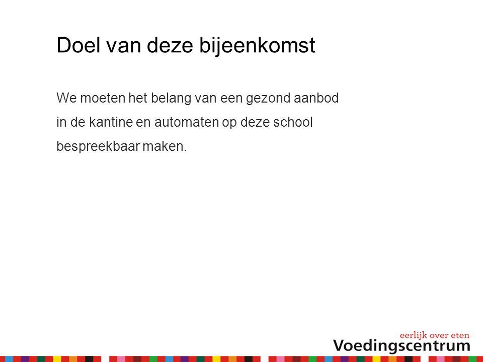 Doel van deze bijeenkomst We moeten het belang van een gezond aanbod in de kantine en automaten op deze school bespreekbaar maken.