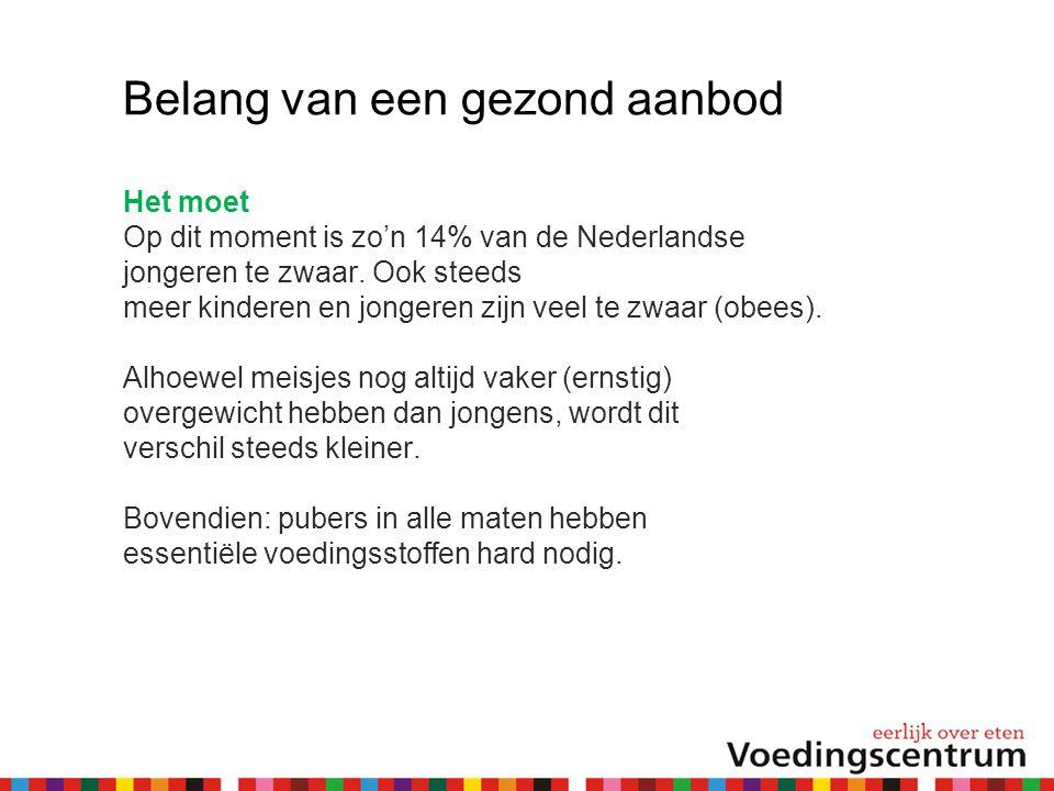 Belang van een gezond aanbod Het moet Op dit moment is zo'n 14% van de Nederlandse jongeren te zwaar. Ook steeds meer kinderen en jongeren zijn veel t