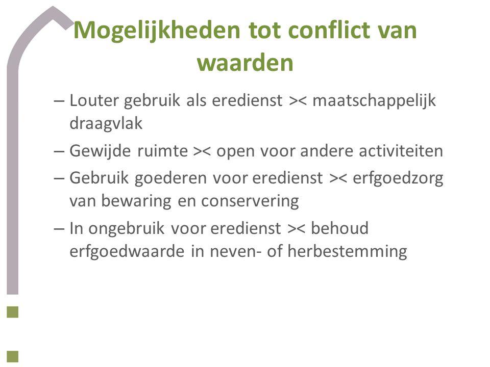Mogelijkheden tot conflict van waarden – Louter gebruik als eredienst >< maatschappelijk draagvlak – Gewijde ruimte >< open voor andere activiteiten –