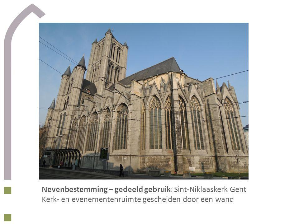 Nevenbestemming – gedeeld gebruik: Sint-Niklaaskerk Gent Kerk- en evenementenruimte gescheiden door een wand
