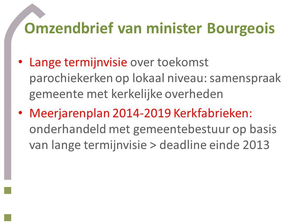 Omzendbrief van minister Bourgeois • Lange termijnvisie over toekomst parochiekerken op lokaal niveau: samenspraak gemeente met kerkelijke overheden •