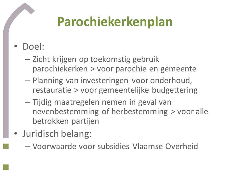 Parochiekerkenplan • Doel: – Zicht krijgen op toekomstig gebruik parochiekerken > voor parochie en gemeente – Planning van investeringen voor onderhou