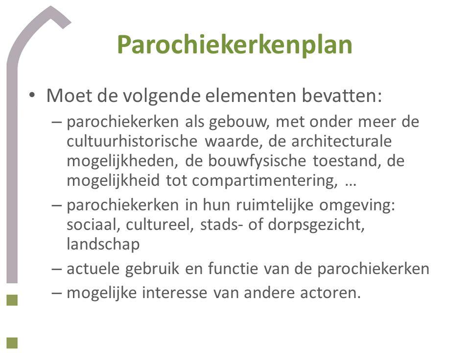 Parochiekerkenplan • Moet de volgende elementen bevatten: – parochiekerken als gebouw, met onder meer de cultuurhistorische waarde, de architecturale