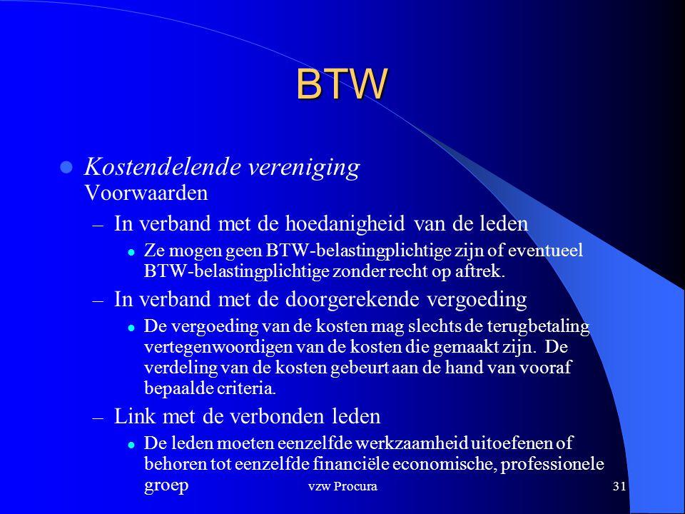 vzw Procura31 BTW  Kostendelende vereniging Voorwaarden – In verband met de hoedanigheid van de leden  Ze mogen geen BTW-belastingplichtige zijn of eventueel BTW-belastingplichtige zonder recht op aftrek.