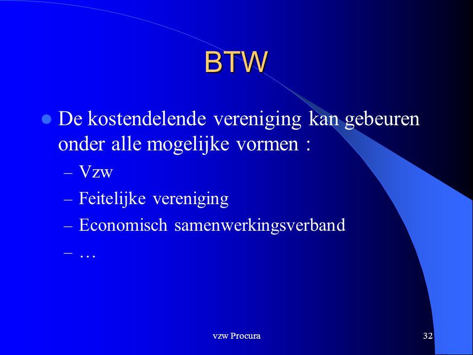 vzw Procura32 BTW  De kostendelende vereniging kan gebeuren onder alle mogelijke vormen : – Vzw – Feitelijke vereniging – Economisch samenwerkingsverband – …