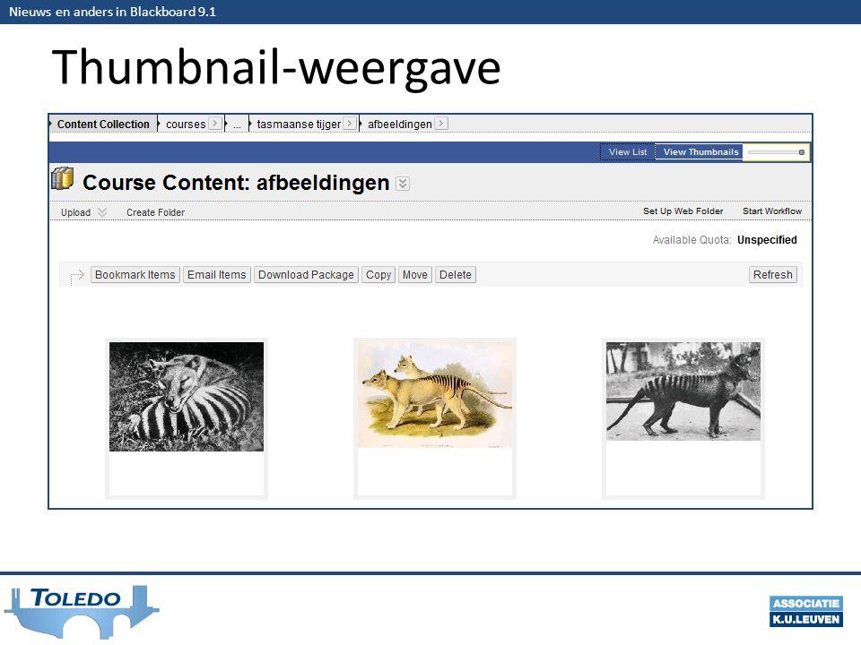 Nieuws en anders in Blackboard 9.1 Thumbnail-weergave