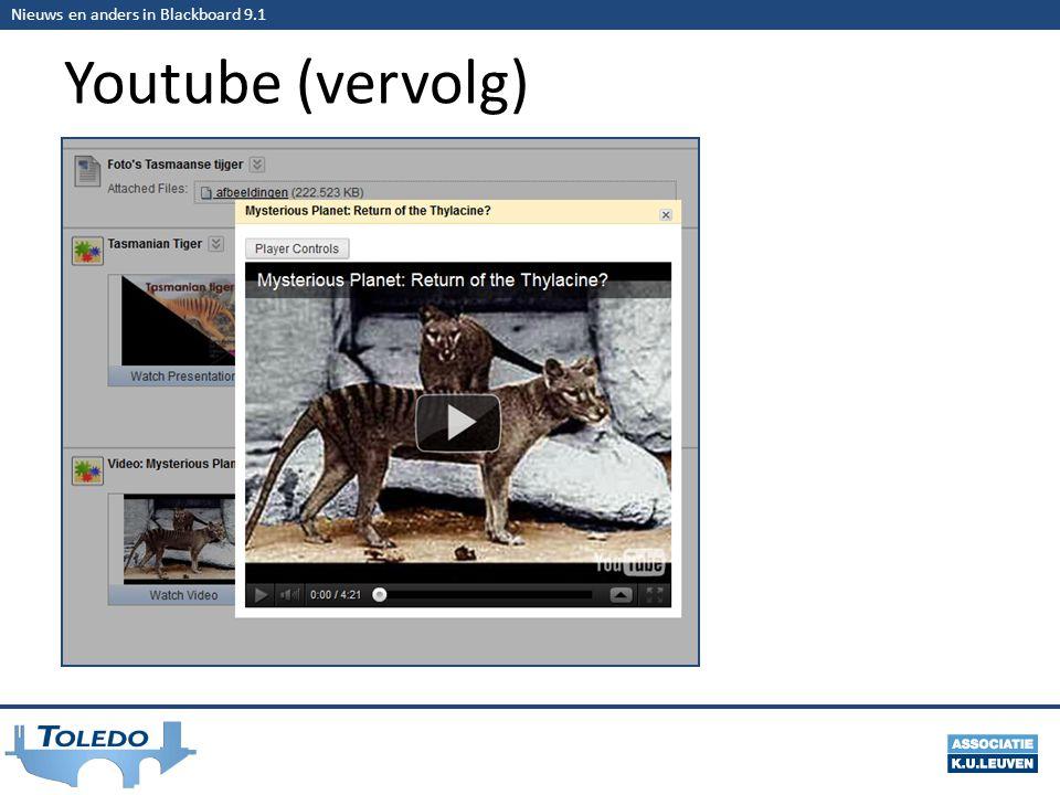 Nieuws en anders in Blackboard 9.1 Youtube (vervolg)
