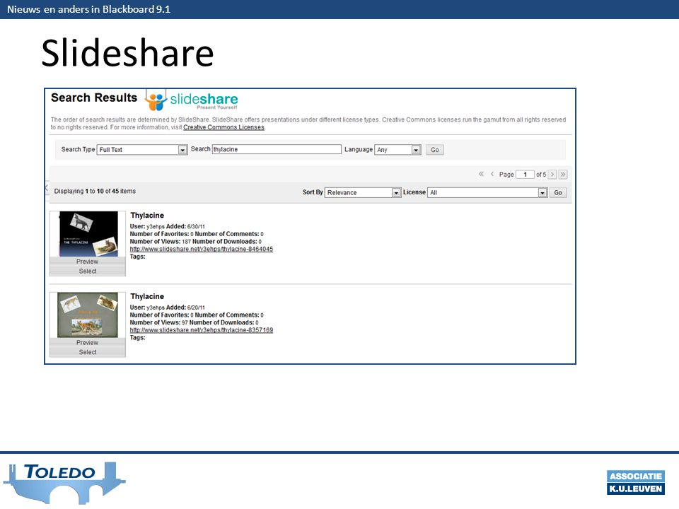 Nieuws en anders in Blackboard 9.1 Slideshare