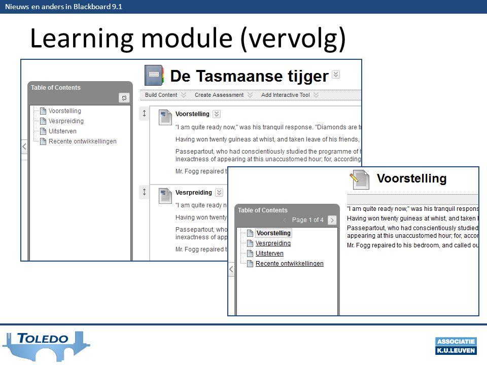 Nieuws en anders in Blackboard 9.1 Learning module (vervolg)