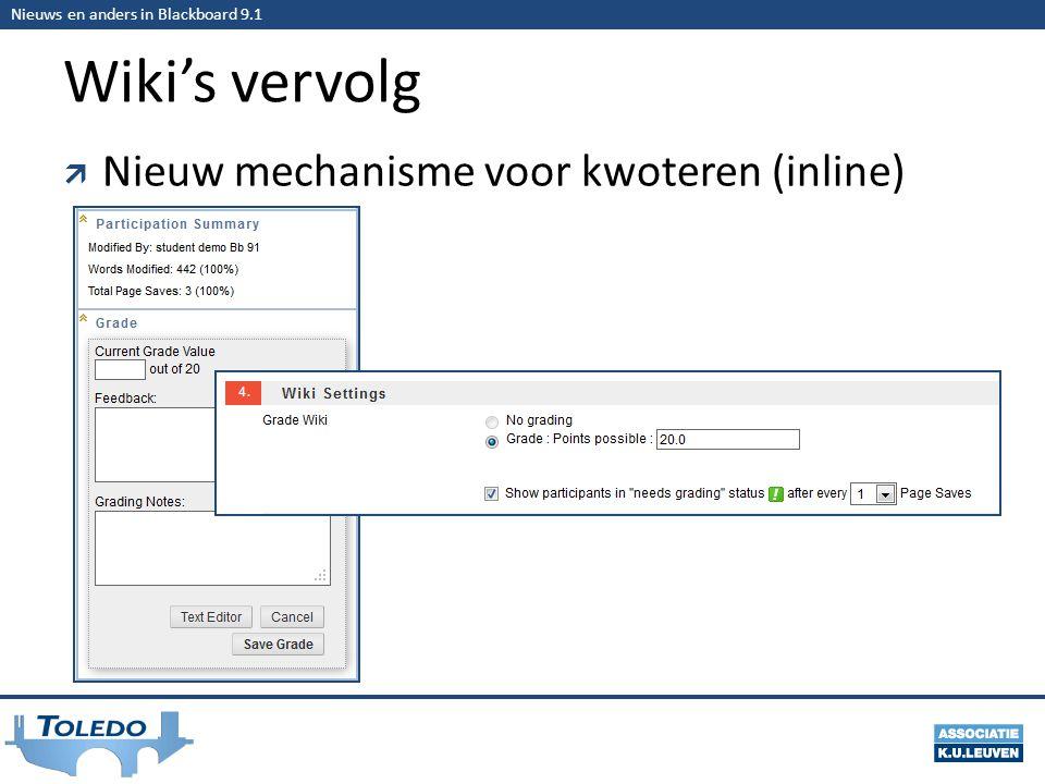 Nieuws en anders in Blackboard 9.1 Wiki's vervolg  Nieuw mechanisme voor kwoteren (inline)