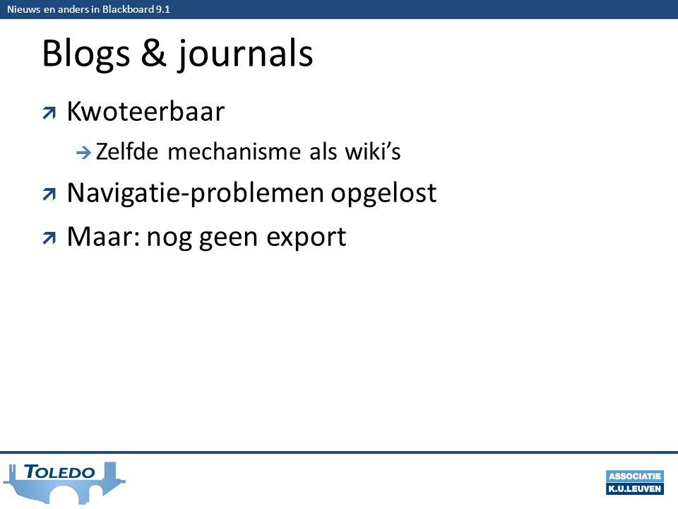 Nieuws en anders in Blackboard 9.1 Blogs & journals  Kwoteerbaar  Zelfde mechanisme als wiki's  Navigatie-problemen opgelost  Maar: nog geen export