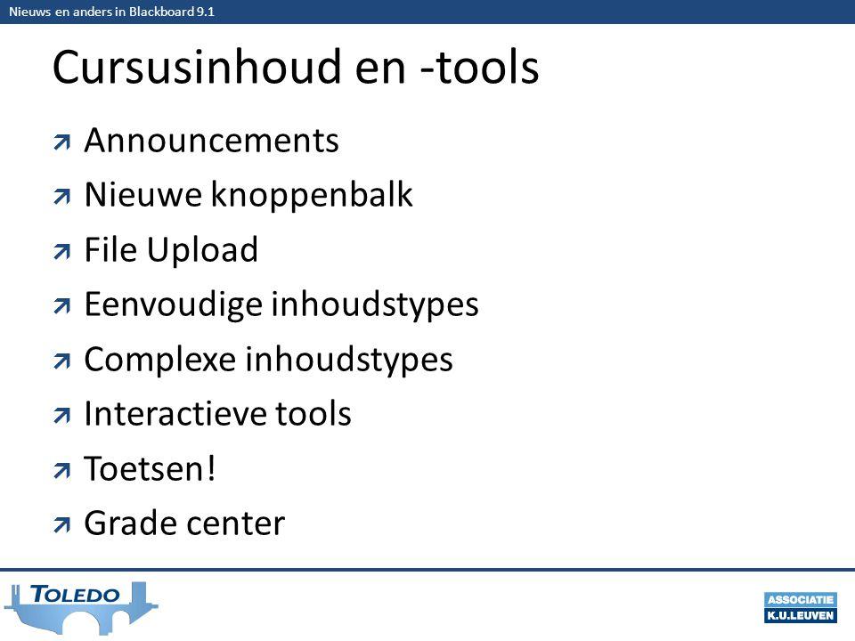 Nieuws en anders in Blackboard 9.1 Cursusinhoud en -tools  Announcements  Nieuwe knoppenbalk  File Upload  Eenvoudige inhoudstypes  Complexe inhoudstypes  Interactieve tools  Toetsen.